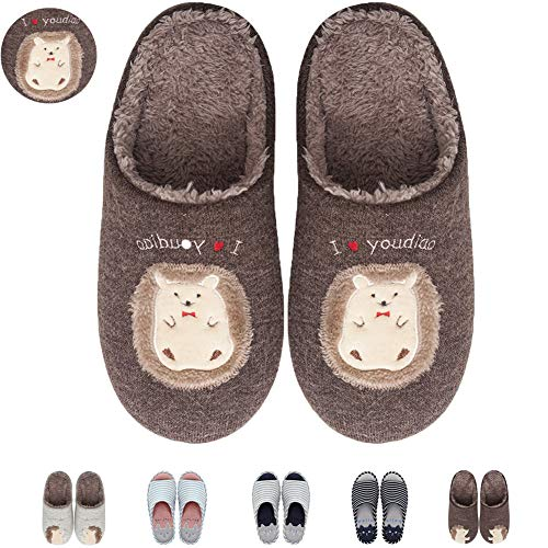 Clog Fleece Women's Memory Coffee Slippers Home 02 Soft Cute House Slip Slippers Plush Foam On Slippers Animal 7nHrBxw7