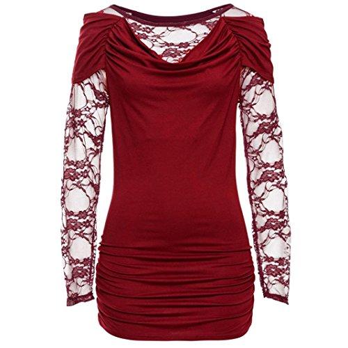 lache Patchwork T Blouse shirt dentelle Rouge Blouse Shirt longues en Femme coton Malloom manches en wYnxqOAOp