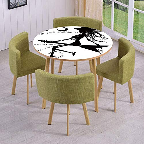 iPrint Round Table/Wall/Floor Decal Strikers/Removable/Witch Flying on Electric Guitar Notes Bat Magical Halloween Artistic Illustration/for Living Room/Kitchens/Office -