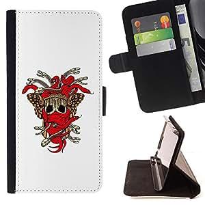 BullDog Case - FOR/Samsung Galaxy S4 IV I9500 / - / Tribal Skull Weapon Crest /- Monedero de cuero de la PU Llevar cubierta de la caja con el ID Credit Card Slots Flip funda de cuer