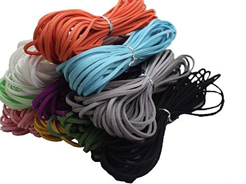 (100 Yards 2.6mm 10 Bundles Suede Korean Velvet Leather Cord String Rope Thread 1.0mm Thickness Korean Suede Leather, Suede Leather String Leather)