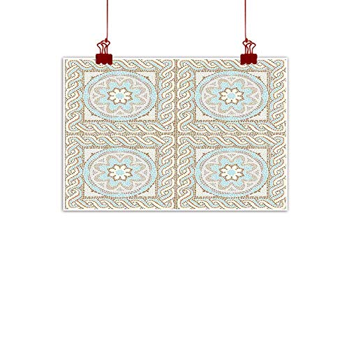 "Simple Life Minimalist Antique,Mosaic Tile Design with Floral Elements Twists and Colorful Circular Pattern,Cream Brown Blue 24""x16"" for Boys Room Baby Nursery Wall Decor Kids Room Boys Gift"