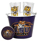 NCAA LSU Tigers Satin Etch Bucket and 4 Glass Gift Set