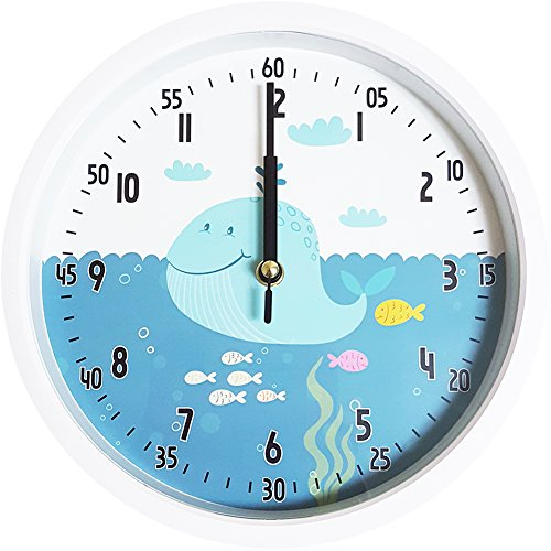 Easy Read Time Teacher Children's Wall Clock Silent Non-Ticking Movement Learn to tell the time (Whale)