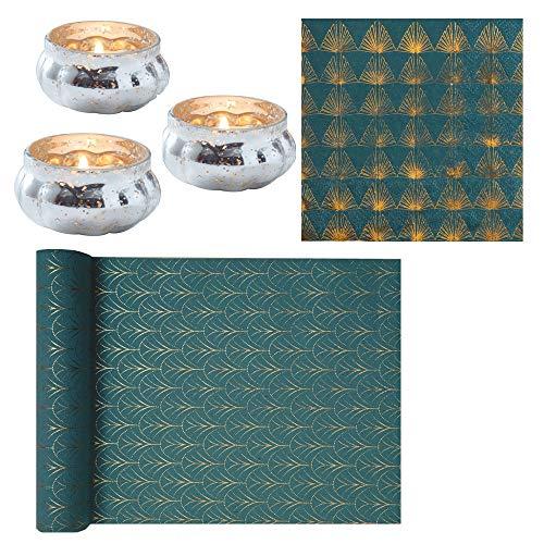24 Teile Tischdeko Set Art Deco In Petrol Mit Gold Muster