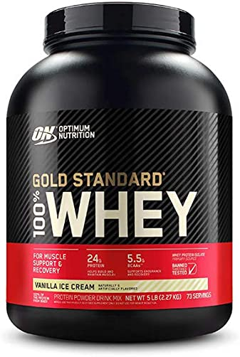 Optimum Nutrition Gold Standard 100 Whey Protein Powder, Vanilla Ice Cream, 5 Pound Packaging May Vary