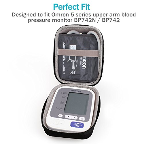 Hard Travel Carrying Case for Omron BP742N BP742 5 Series Upper Arm Blood Pressure Monitor with Cuff that fits Standard and Large Arms by LotFancy