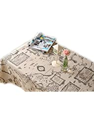 LINENLUX Linens Tablecloths Picnic Burlap Tablecloth for Round&Rectangular&Oval Table Cover with Map Printed(Map,23x23In)
