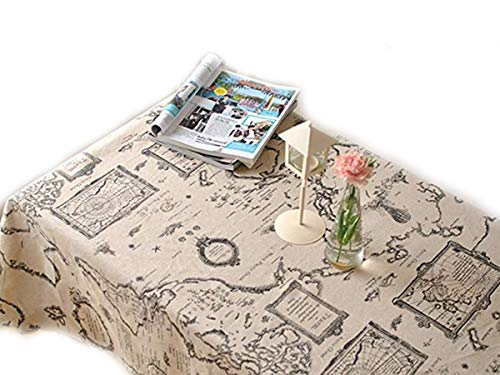 LINENLUX Linens Tablecloths Picnic Burlap Tablecloth for Round&Rectangular&Oval Table Cover with Map Printed(Map,55x70.7In) ()