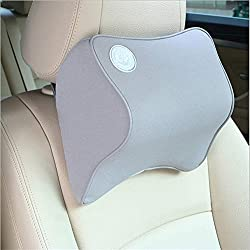 YOXI Car Headrest Cushion Neck Pillow with Adjustable Elastic Strap , Memory Foam Neck Support Pillow for Car Seat Headrest, Comfortable Computer Chair Head Cushion (Gray)