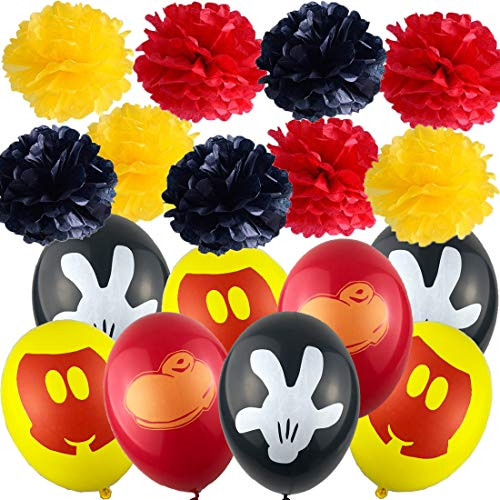 30pcs Balloons with 9pcs paper garland for Kids Mickey Mouse Birthday Party Favor Supplies -