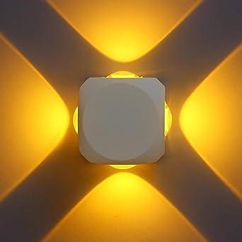 Led De Pared Exterior Iluminación De Interior Jardín Impermeable Corredor Exterior Exterior Iluminación Interior Entrada Cáscara Blanca Aluminio Exterior Impermeable Cuadrado A Prueba De Humedad 12W: Amazon.es: Iluminación