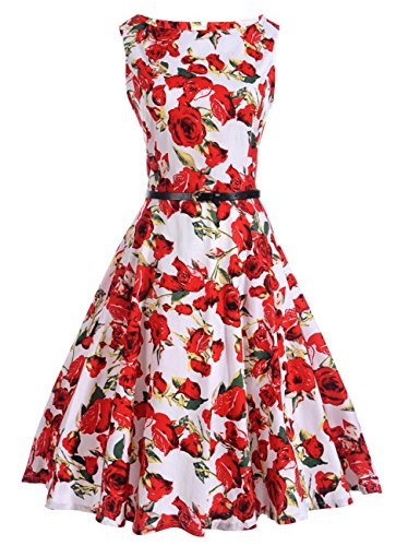 White Cocktail Dress Tea 1950 Belt Swing Sleeveless Retro amp Red Dress Vintage Floral Dress s with xYqqXHOz