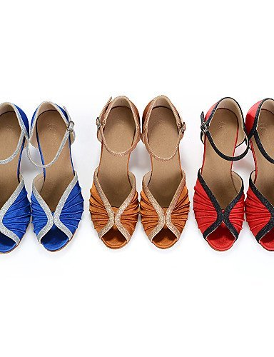 Chaussures de danse Moderne Rouge Similicuir Latine Blue Bleu ShangYi Jazz Personnalisables Talon Jaune Bobine dpRBqWAnw