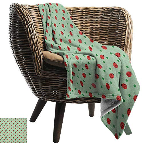 Sunnyhome Ladybugs, Throw Blanket,Traditional Polka Dots Background Abstract Cute Ladybug Insects Fun Design 60