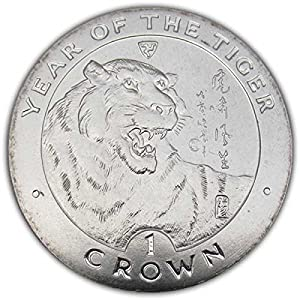 isle of man 1998 chinese new year year of the tiger unc cuni coin - Chinese New Year 1998