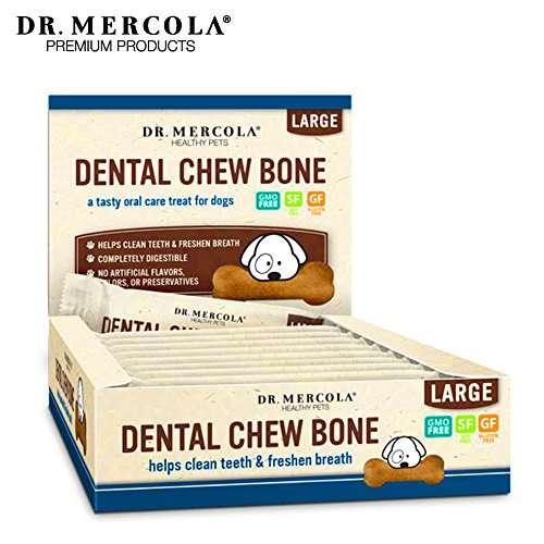 Dr. Mercola Dental Chew Bones - 12 Pack - Large Dogs 25 lbs and Up - Helps Clean Teeth and Freshen Breath - A Completely Digestible Tasty Oral Care Treat for Dogs