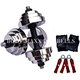 Body Maxx 40 Kg Adjustable Steel Chrome Plated Dumbells + Dumbells rods + Gloves + Rope, Home Gym Set