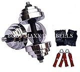 BODY MAXX 24 Kg Adjustable Steel Chrome Plated Dumbells, Gloves,...
