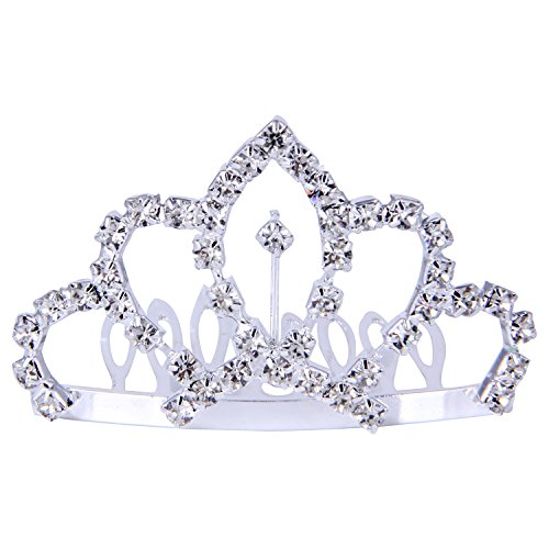 Crown Clip - ROFIFY Women Girls Silver Crystal Rhinestone Headband Comb Hair Clip Princess Wedding Bridal Elegant Tiara Crown FJ16