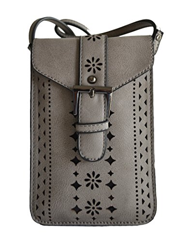 - Grey gray beige perforated laser cut out phone holder cross body purse