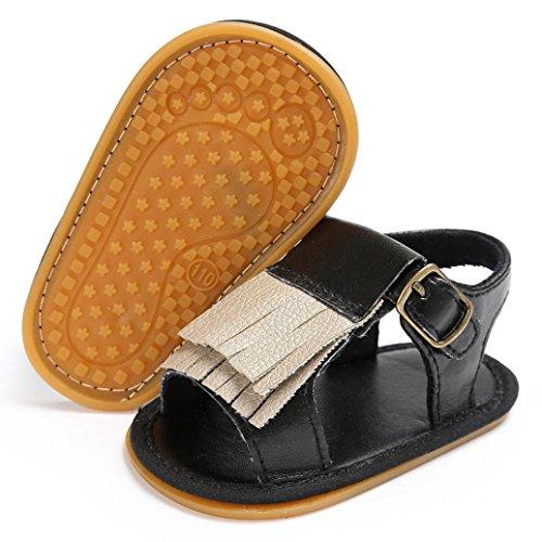 ... BZLine® Baby Neugeborenen Quaste Soft Sole Leder Schuhe Mädchen  Sandalen Schwarz 256057eb8c