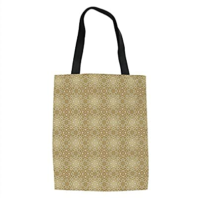 IPrint Golden,Vintage 20s Gatsby Party Inspired Geometrical Image with Floral Details Print,White and Gold Printed Women Shoulder Linen Tote Shopping Bag