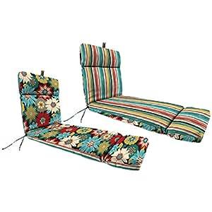 "Al aire libre Reversible Chaise Lounge cojín con anilla para colgar fabricada con poliéster/mezcla de poliéster en Floral azul y rojo acabado 22""W x 72"" D"