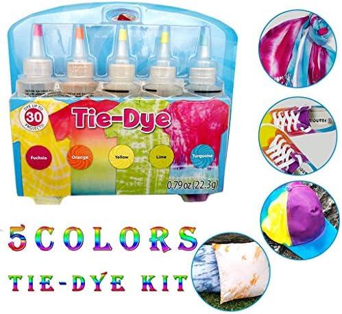 Tie Dye Kits für Kinder und Erwachsene, 5 Farben Ein Schritt DIY Tie-Dye Kit für Shirt Kleider Textilfarbe, Sicher Ungiftig Spielzeug Geschenk Kinder Mädchen Jungen Familie Freunde Party Geschenk (A)