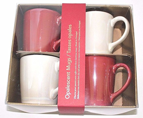 Starbucks Set of 4 Mugs Pearl White Red Pearlescent 12 Oz Christmas ()