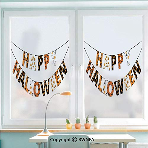 Window Door Sticker Glass Film,Happy Halloween Banner Greetings Pumpkins Skull Cross Bones Bats Pennant Decorative Anti UV Heat Control Privacy Kitchen Curtains for Glass,22.8 x 35.4 inch,Orange Blac]()