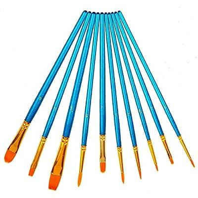 Soucolor Paint Brush Set Acrylic Professional Paint Brushes Artist for Watercolor Oil Acrylic Painting(10pcs) by Soucolor
