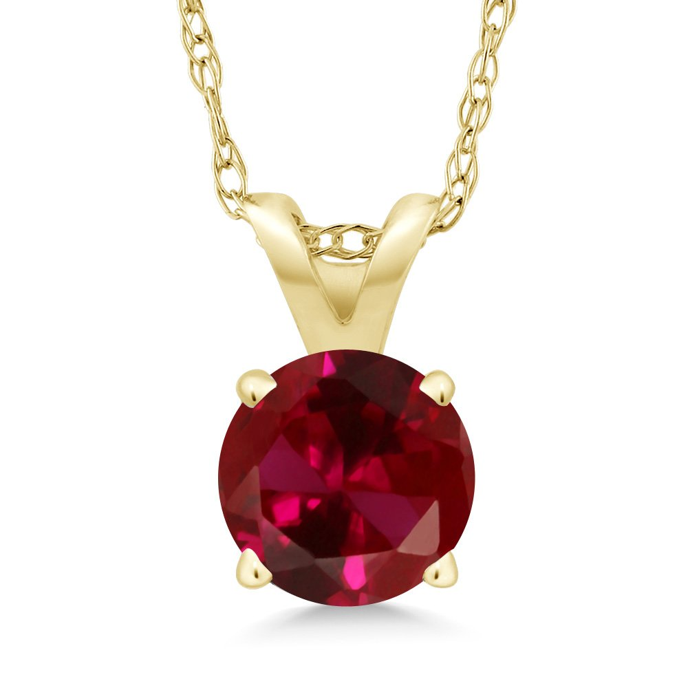 1.00 Ct Round Red Created Ruby 14K Yellow Gold Pendant With Chain