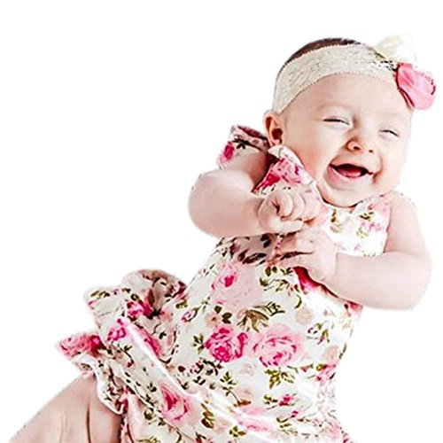 [FEITONG Girls Boys Baby Kid Halter Flower Print Romper Backless Jumpsuit (Age:19-24M, Pink)] (Toddler Costumes Clearance)
