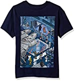 Star Wars Big Boys' Cartoon Hangar Battle Scene Graphic Tee
