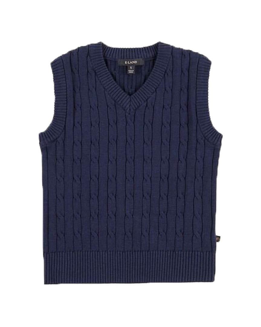 E Land Boys Kids Sweater Vest, 5/6 Navy