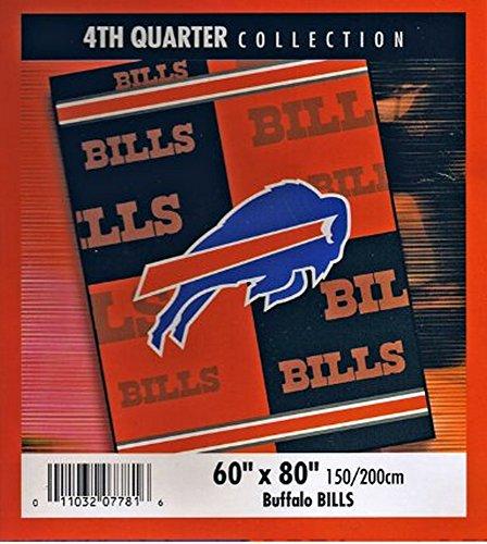 NFL Football Buffalo Bills Blanket 4th Quarter Mink Raschel Plush Twin 60 X 80 - 85% Acrylic - Keeps You Warmer