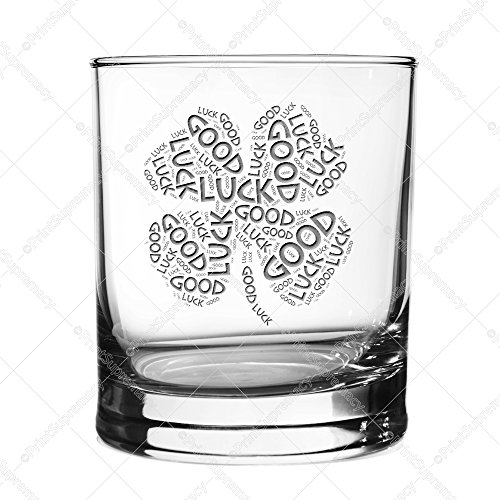 Good Luck-10.5 oz Rocks Glass Laser Etched Glass Made in USA Four Leaves Clover St Patrick's Day,Birthday Gift Mug,Wedding Gift,Valentine's Day Gift,Anniversary Gift,Engagement Gift,Party Glass -