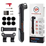 BeSpoke Cycling Gear Mini Bike Pump & tire repair kit - dual nozzle fits Presta & Schrader valves - compact & lightweight - frame-mounted bracket - pumps road, mountain, dirt & BMX bicycle tire tubes
