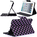 i-Blason Dalmation Series Auto Wake / Sleep Smart Cover Book Shell Stand case Cover for Apple New iPad Mini 7.9 Inch Wifi 3G 4G LTE with Built-in Stand and Stylus Loop Polka Dot Design (Black / Purple)