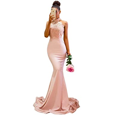 ABaowedding Womens Prom Dresses Long Lace High Neck Evening Gowns Sexy Mermaid Pink ...