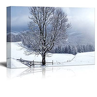Canvas Prints Wall Art - Beautiful Winter Landscape with Snow Covered Trees - 32