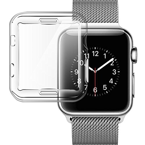 Apple watch series 3 case 42mm, TIRIO iwatch 3 screen protective Case TPU hdclear All-around 0.3mm Ultra-thin Soft High Transparency Full Cover protector for New Apple Watch Series 3 42mm(2017)