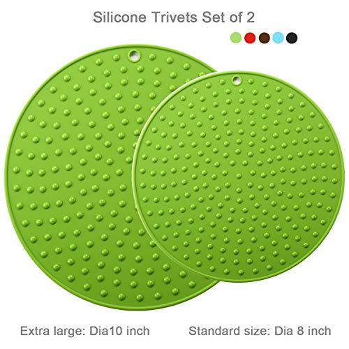(Large Silicone Trivet Mat Teapot Trivet S/2– Coffee Pot Mat Silicone Hot Pot Holder for Table Large Silicone Kitchen Hot Pad for Table Kitchen Pot Trivet, Extra Large and Small Sizes S/2 (Green) )