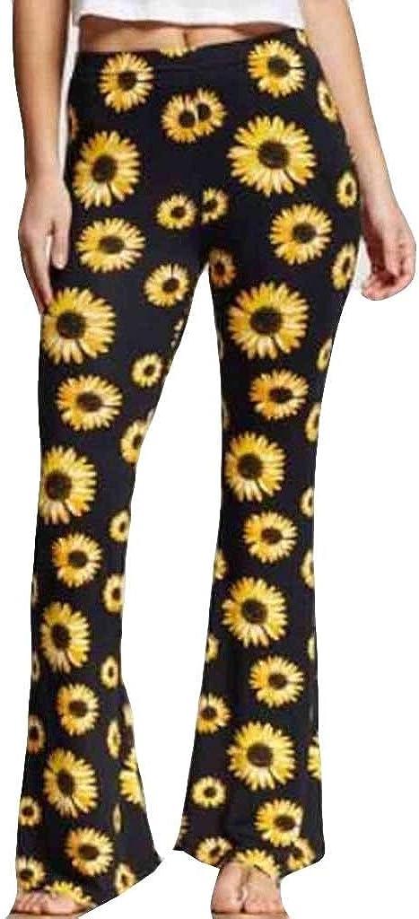 OYSOHE Damen Mode Sonnenblume Schlaghose Hohe Taille Skinny Beil/äufig Hosen