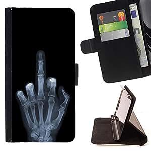 BullDog Case - FOR/Apple Iphone 5 / 5S / - / Funny X Ray Hand /- Monedero de cuero de la PU Llevar cubierta de la caja con el ID Credit Card Slots Flip funda de cuer
