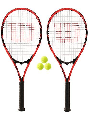 2 x Wilson Federer 110 Tennis Rackets L3 + 3 Tennis Balls