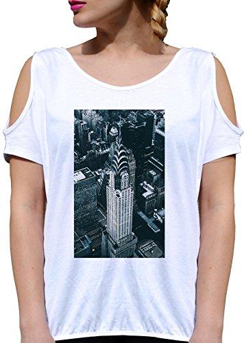 T SHIRT JODE GIRL GGG27 Z1650 CITY SKYLINE NEW YORK AMERICA LIFESTYLE URBAN FUN FASHION COOL BIANCA - WHITE M
