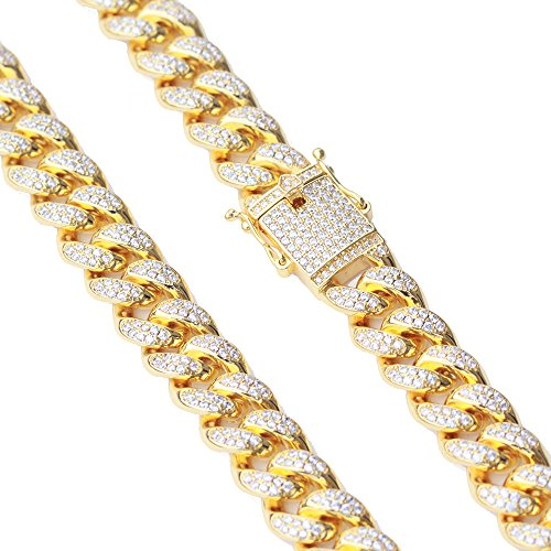 TRIPOD JEWELRY 12mm 18K Gold Hip Hop Iced Out Miami Cuban Link Chain Men (24, 12mm 18K Gold) ()