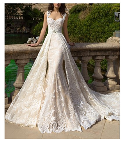 Tbb Women S Crystal Champagne Lace Mermaid Wedding Dresses With Detachable Skirt
